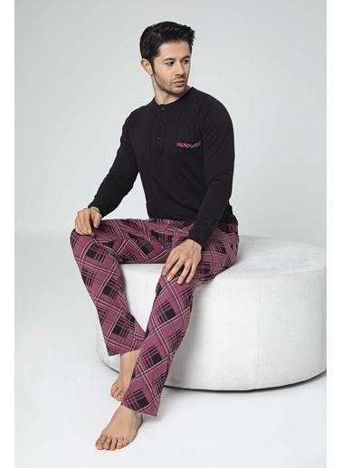 Aydoğan Erkek Süprem Altı Desenli Üstü Düz Pijama Takımı Renkli